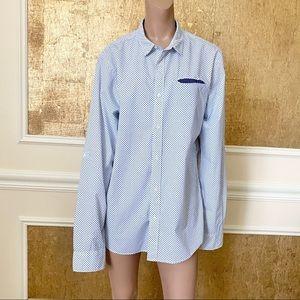 Scotch & Soda white & blue print pattern shirt L